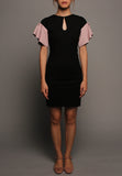 Keyhole Pleated Sleeve Dress (Black with Pink Peplum)