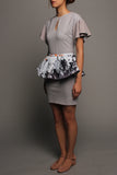 Keyhole Pleated Sleeve Dress (Grey Blue with Grey Peplum)