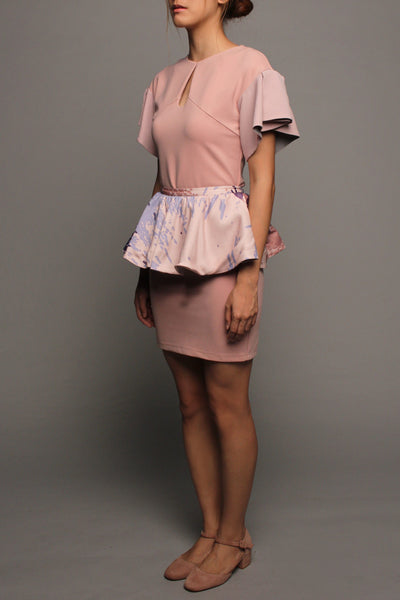 Keyhole Pleated Sleeve Dress (Pink with Pink Peplum)