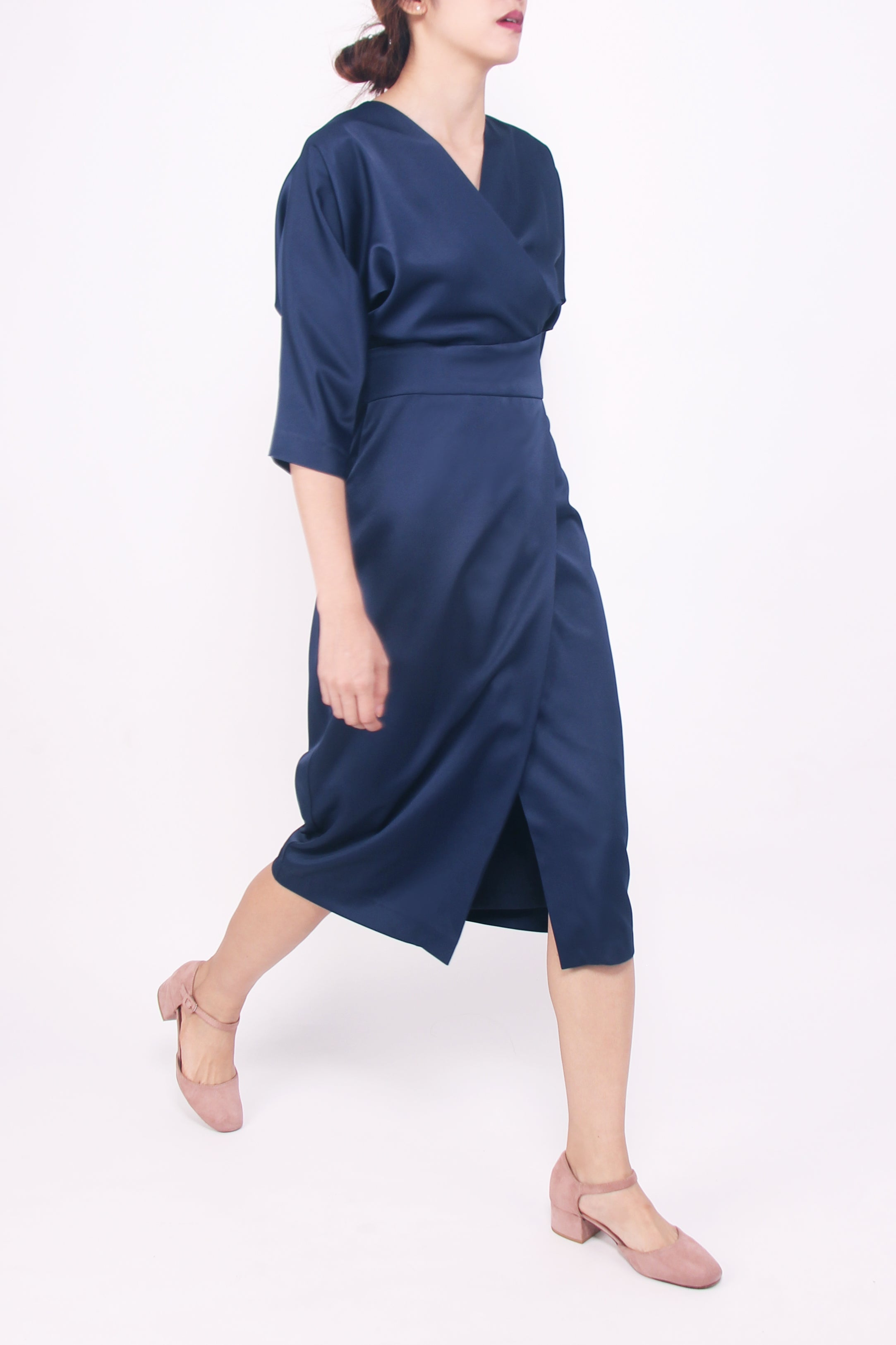 Kimono-cut Midi Dress - Midnight