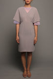 Kimono Flutter Sleeves Dress (Grey on Pink)
