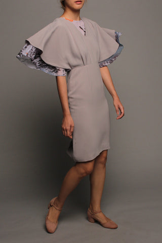 Kimono Flutter Sleeves Dress (Grey on Grey)