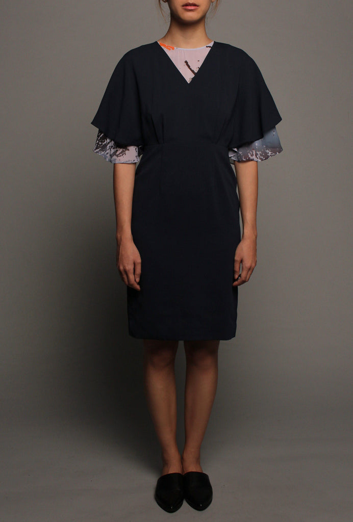 Kimono Flutter Sleeves Dress (Midnight on Grey)