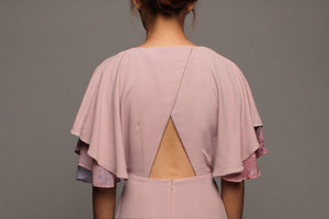 Kimono Flutter Sleeves Dress - Pink on Pink