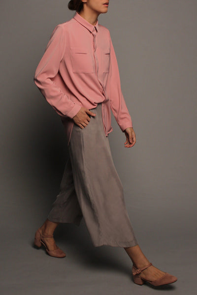 Long Sleeved Double Pockets Top (Blush Pink)