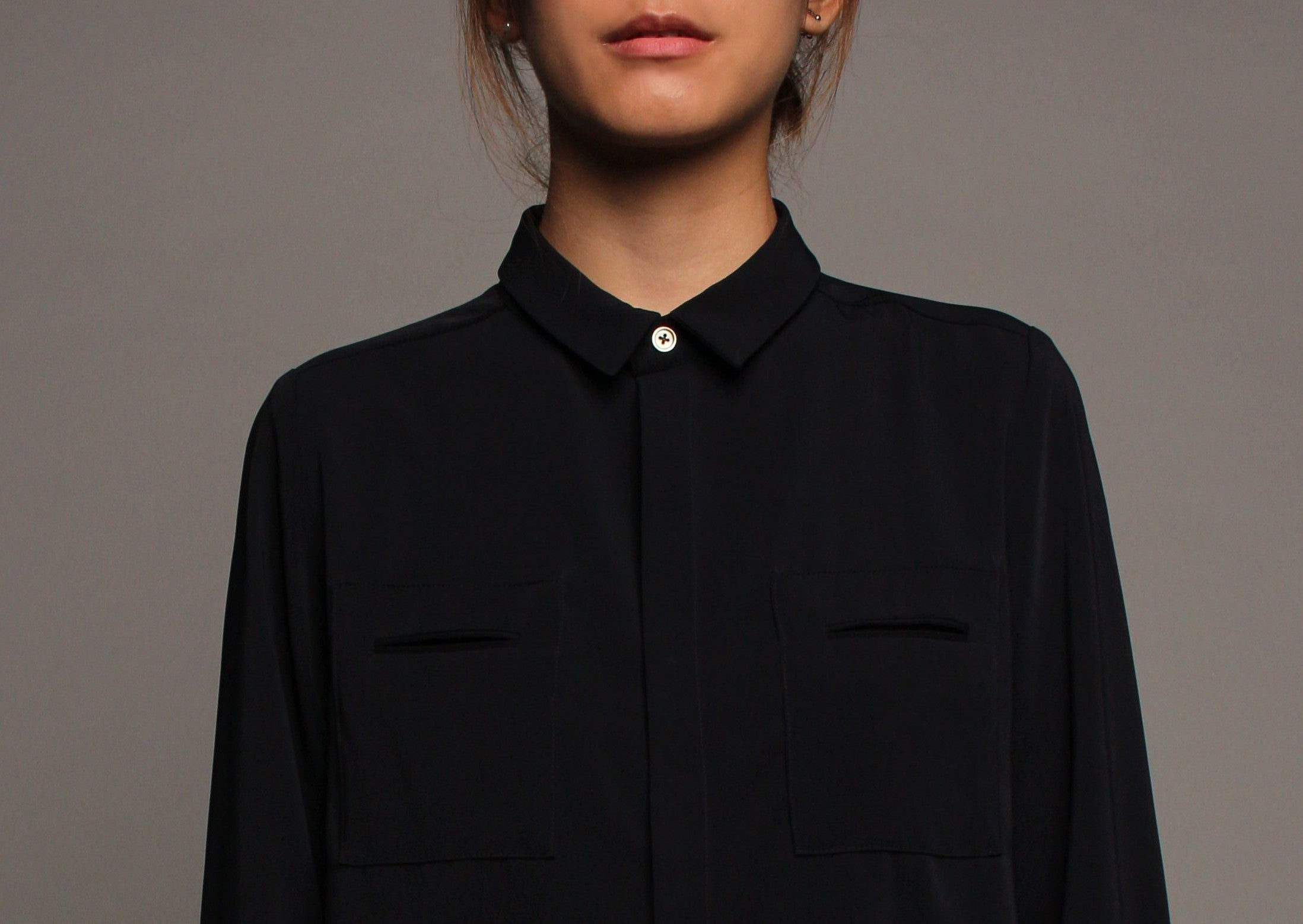 Long Sleeved Double Pockets Top (Midnight)