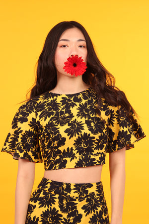Open Back Crop Top (Black & Yellow)