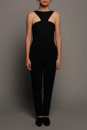 Pleated Peplum Jumpsuit (Black with Grey Peplum)