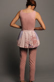 Pleated Peplum Jumpsuit (Pink with Pink Peplum)