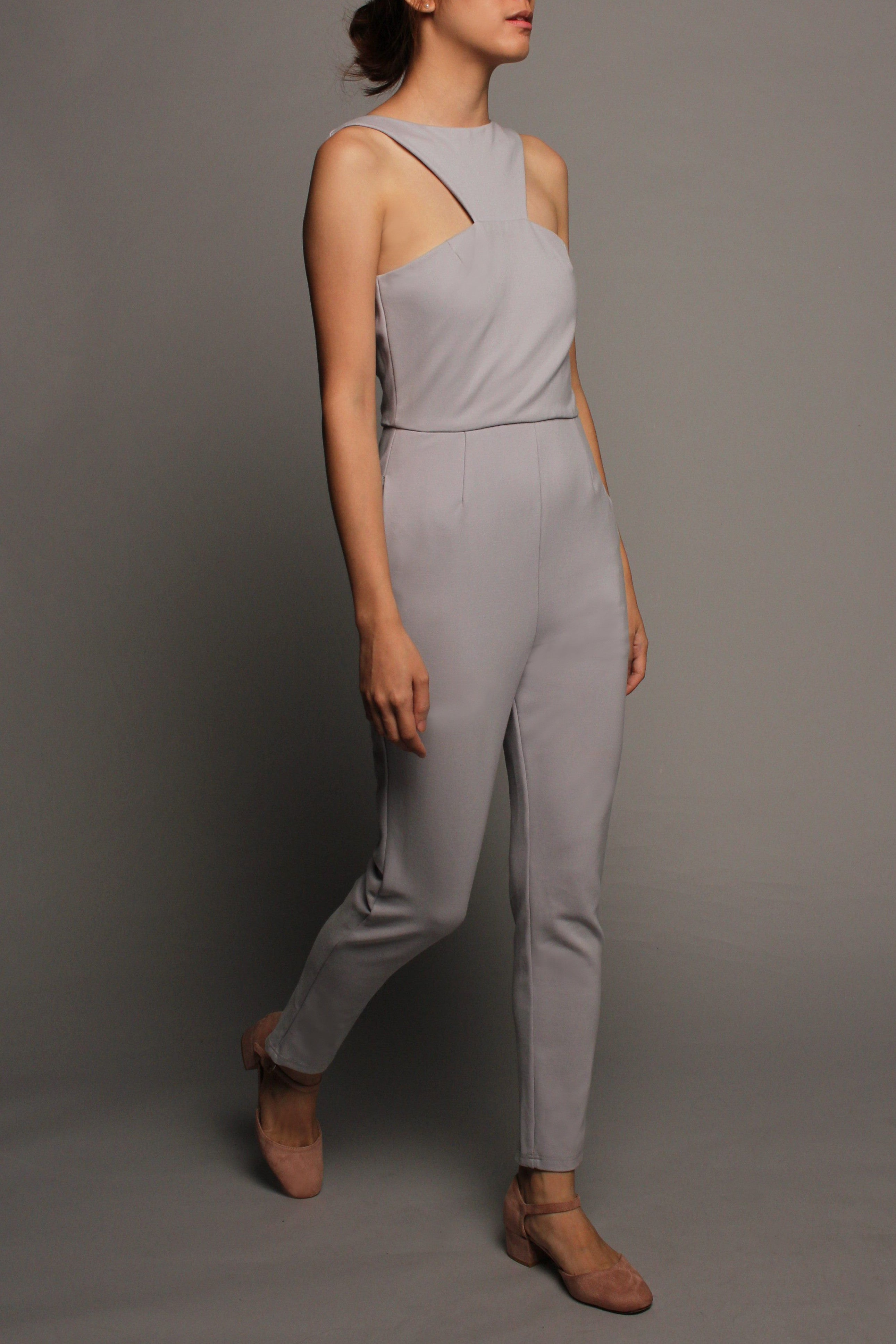 Pleated Peplum Jumpsuit (Grey Blue with Grey Peplum)