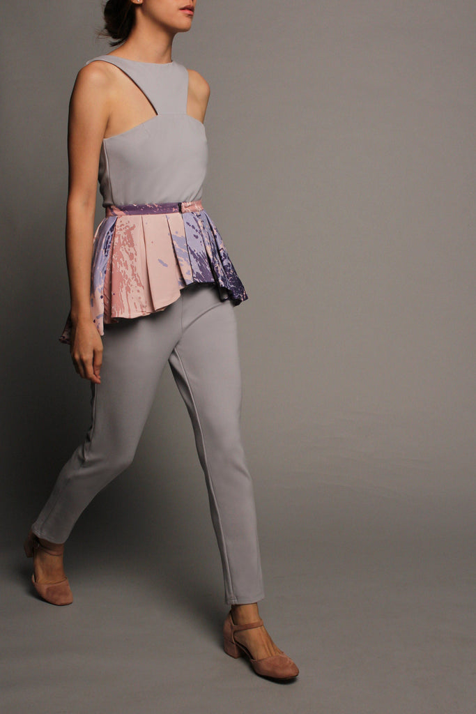 Pleated Peplum Jumpsuit (Grey Blue with Pink Peplum)