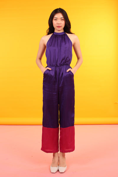Split Back Color Block Jumpsuit
