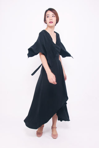 Tie-waist Kimono Sleeves Dress - Black