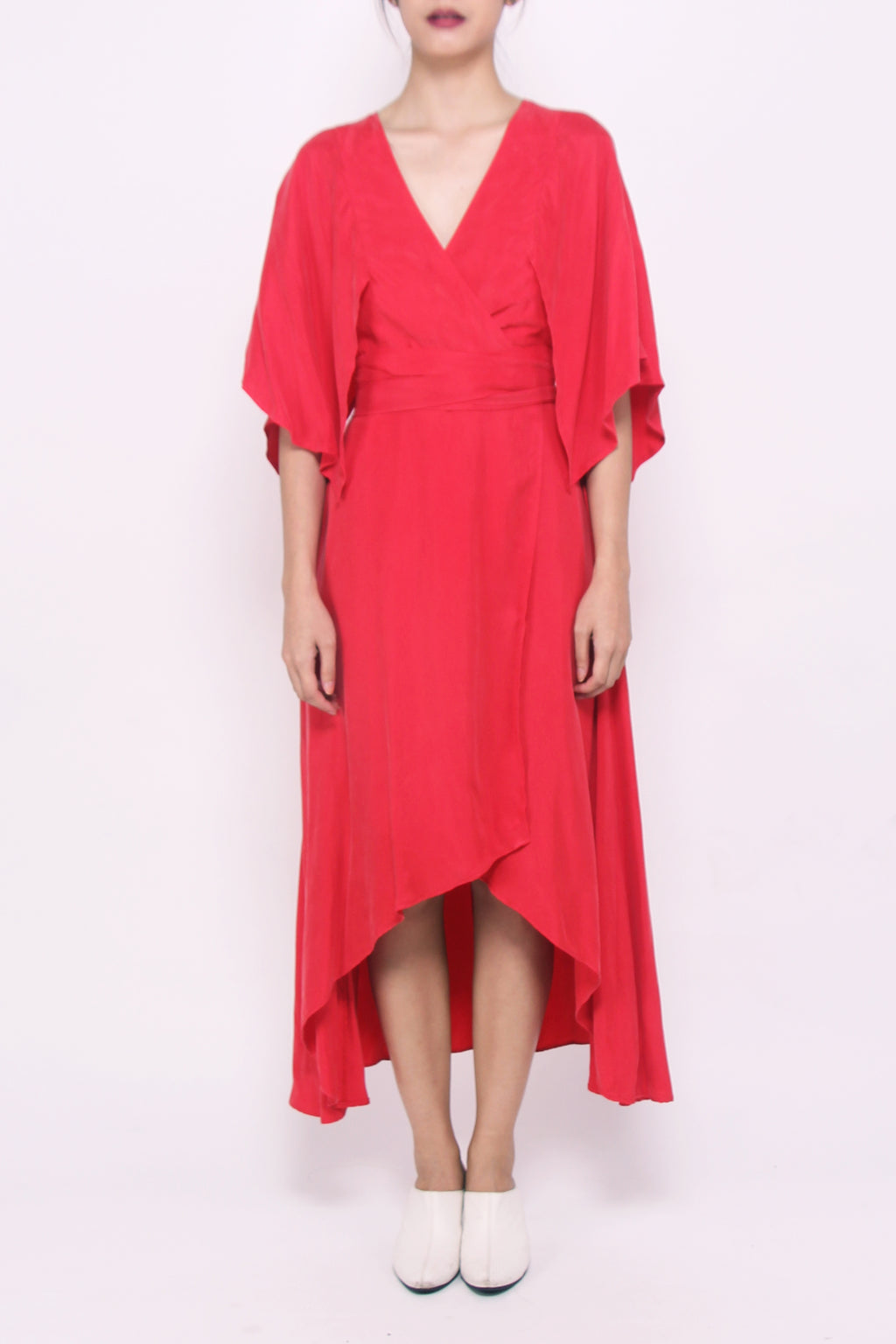 Tie-waist Kimono Sleeves Dress - Cherry Red