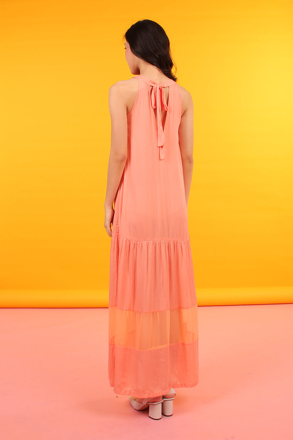 Tie-Back Tiered Bottom Maxi (Coral)