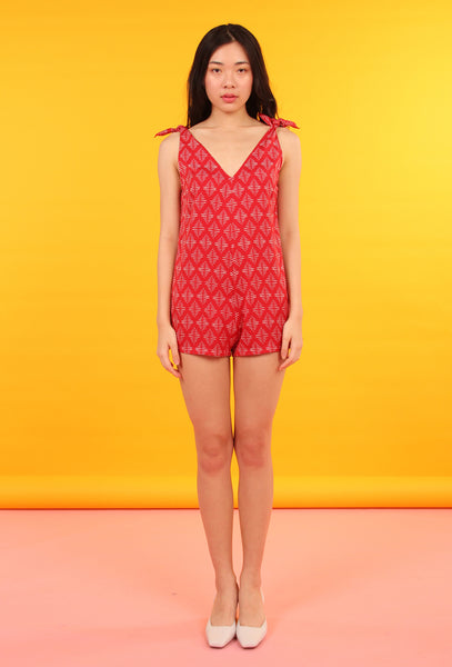 Tie Shoulder Romper (Native Print Red)