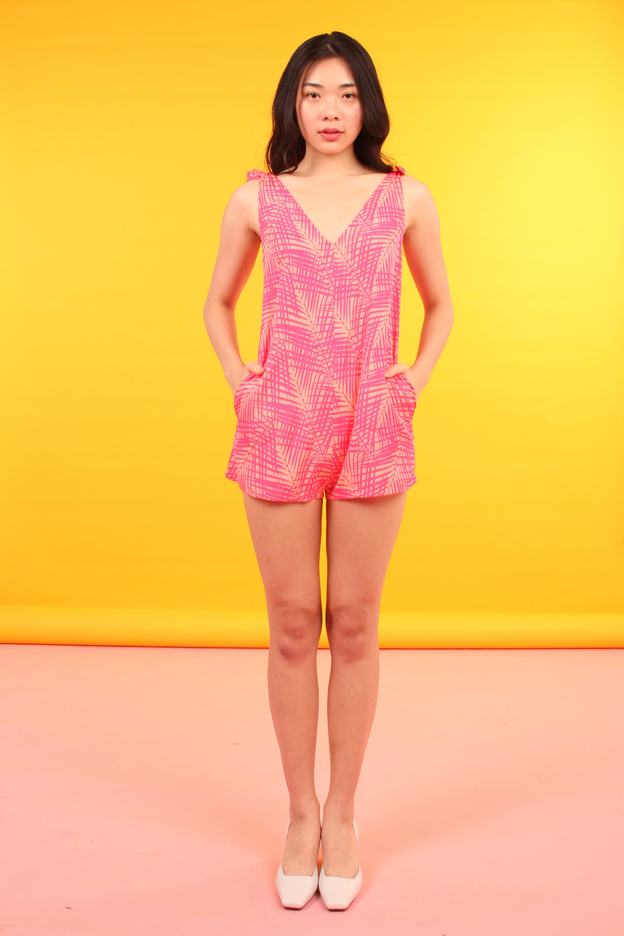 Tie-Shoulder Romper (Neon Palm)