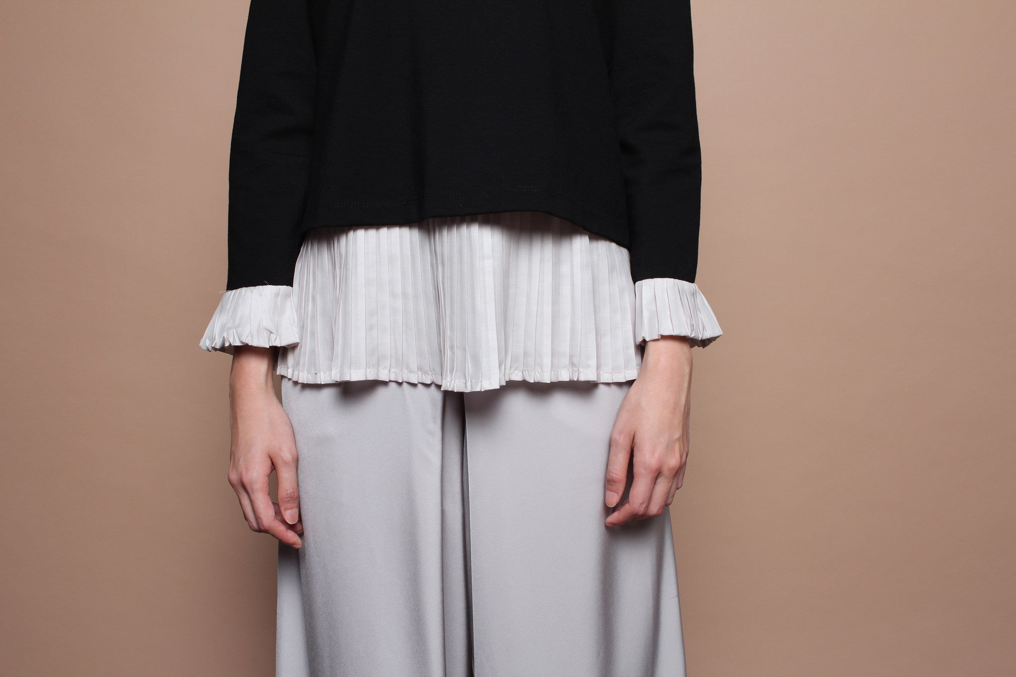 Long-sleeved Pleated Top