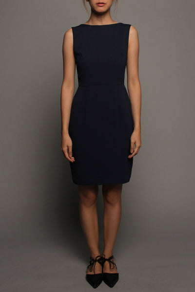V-back Sleeveless Dress (Midnight with Grey Peplum)