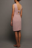 V-back Sleeveless Dress (Pink with Pink Peplum)