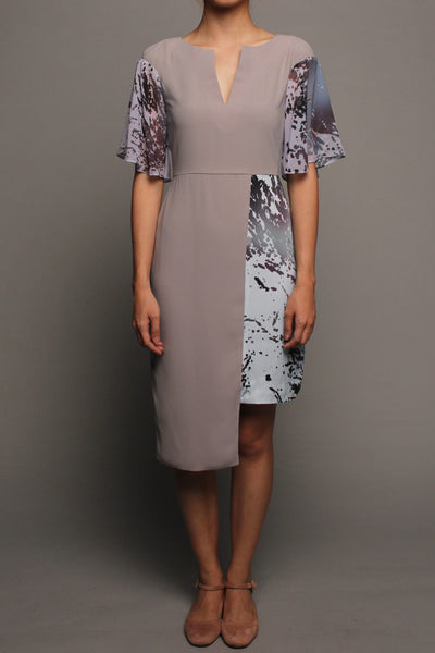 Asymmetrical V-neckline Dress (Grey on Grey)