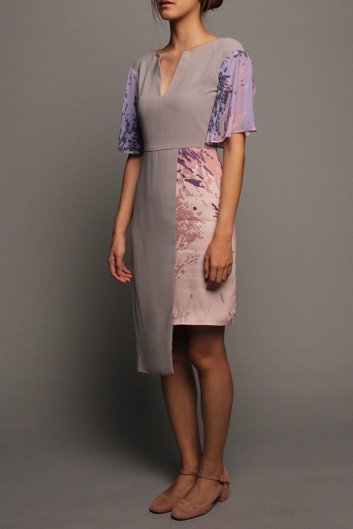 Asymmetrical V-neckline Dress (Pink on Grey)