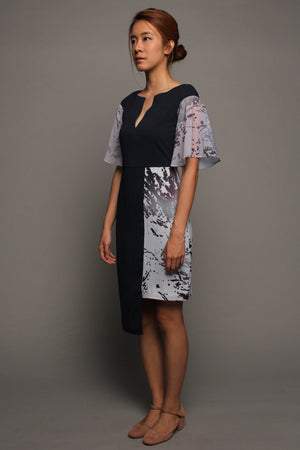 Asymmetrical V-neckline Dress (Grey on Midnight)