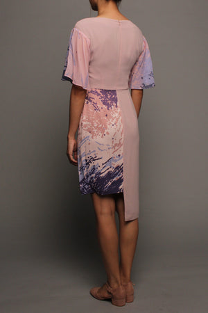 Asymmetrical V-neckline Dress (Pink on Pink)