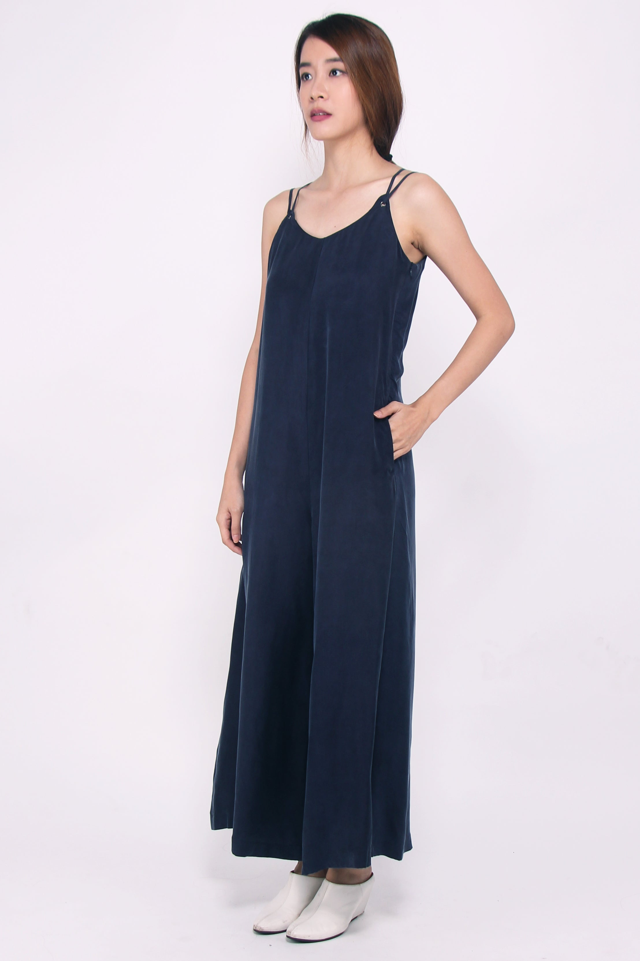 Wide-leg Jumpsuit - Ink Blue