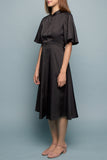 Back Flare Dress (Midi) - Black Coal
