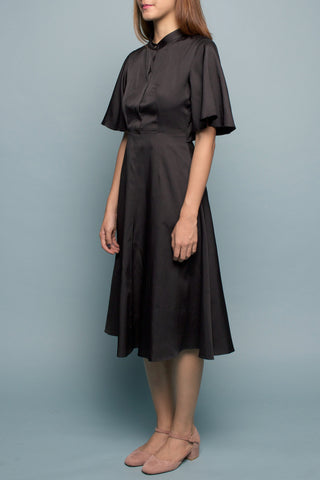 Back Flare Dress (Black Coal)