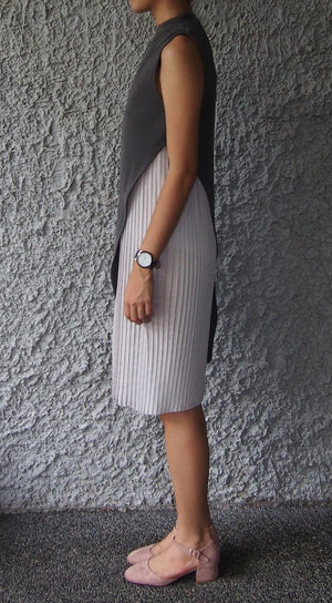 High-neck Pleated Dress