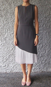 V-neckline Pleated Dress