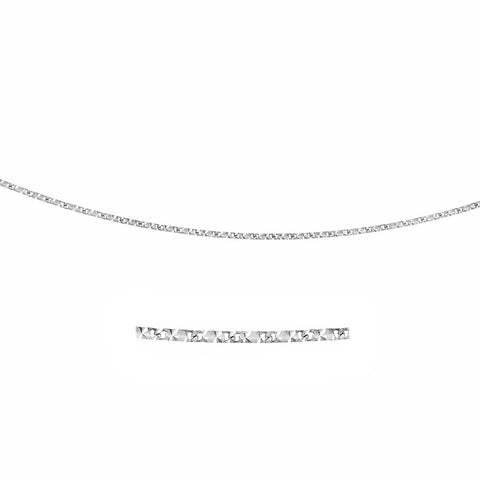 0.8mm 14K White Gold Rectangular Mariner Diamond Cut Chain