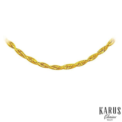 1.5mm 10K Yellow Gold Solid Diamond Cut Rope Chain