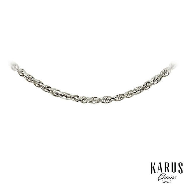 14K White Gold Solid Diamond Cut Rope Chain1.25mm(2)