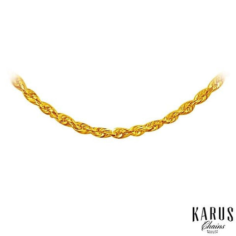 14K Yellow Gold Solid Diamond Cut Rope Chain 1.5mm(2)