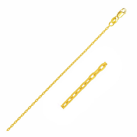 2.0mm 14K Yellow Gold Oval Cable Chain