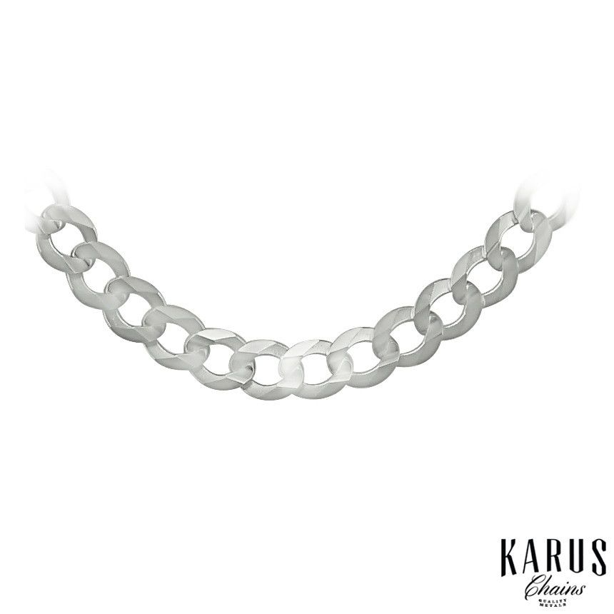 14K White Gold Solid Curb Chain 5.7mm