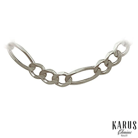 6.0mm Solid Figaro Chain 14K White Gold(2)