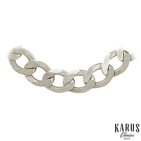 9.5mm Curb Chain Rhodium Plated 925 Sterling Silver