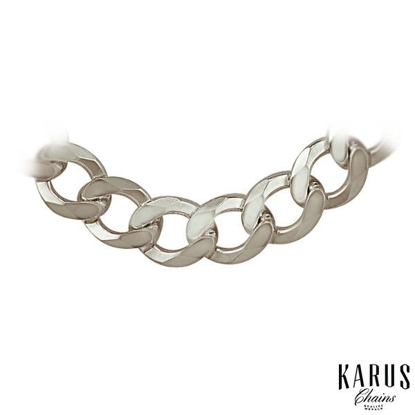 Curb Chain Rhodium Plated 925 Sterling Silver 7.0mm(2)(A)