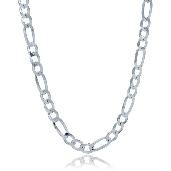 Rhodium Plated 7.8mm Sterling Silver Figaro Style Chain