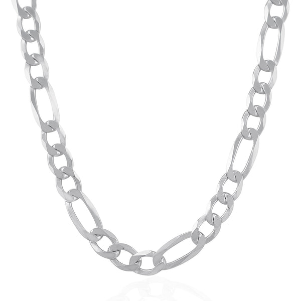 Rhodium Plated 9.5mm Sterling Silver Figaro Style Chain