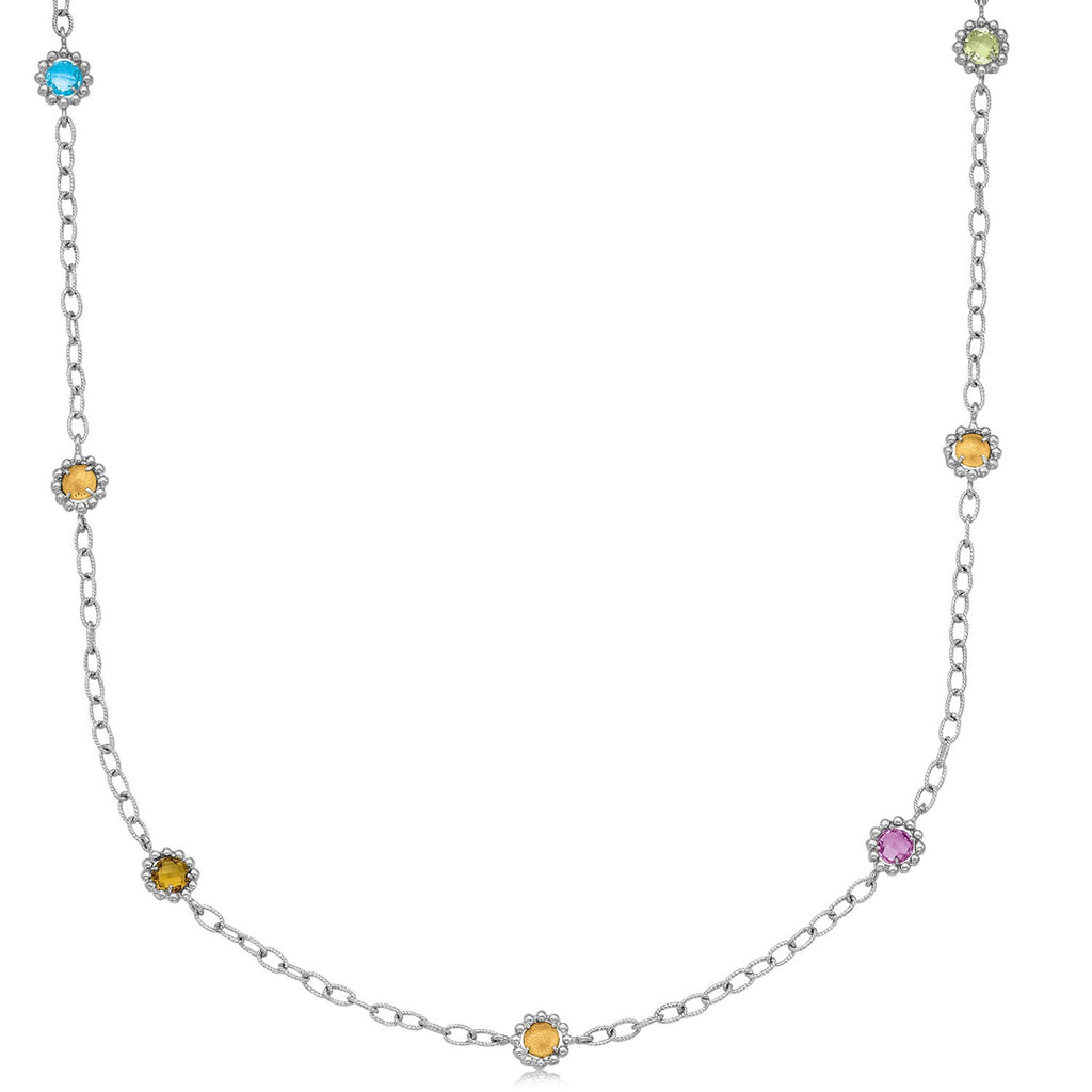 18K Yellow Gold and Sterling Silver 22 inches Chain Necklace
