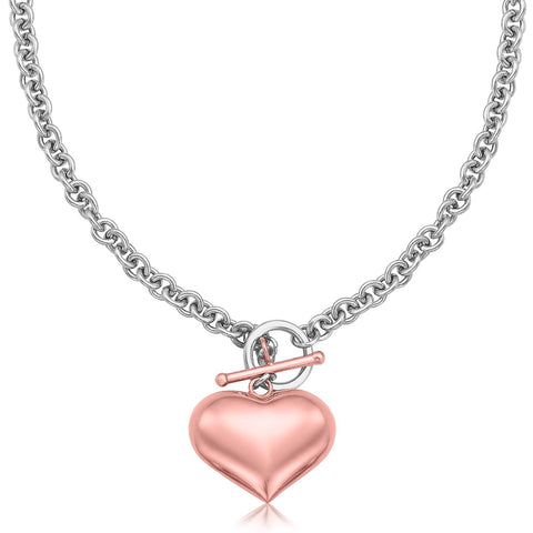 Sterling Silver Rolo Chain Necklace with a Rose Gold Plated Puff Heart Accent