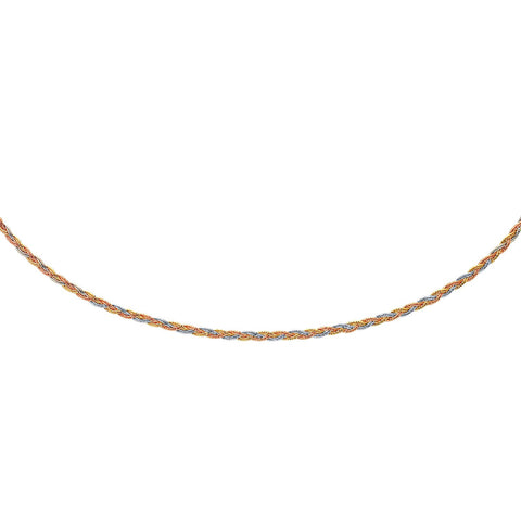 14K Tri-Tone Gold Plaited Motif Multi Strand Mirror Spring Necklace