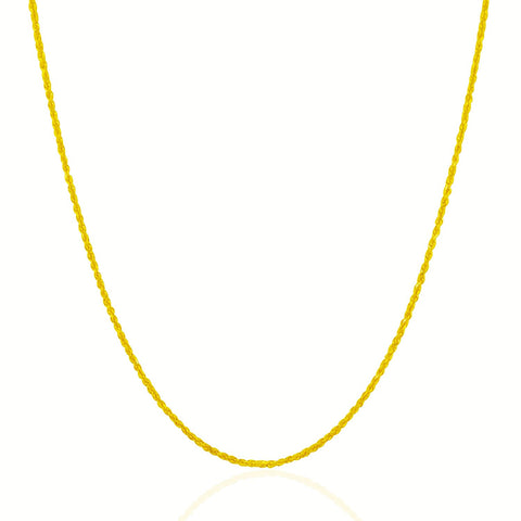 1.25mm 14K Yellow Gold Solid Diamond Cut Rope Chain