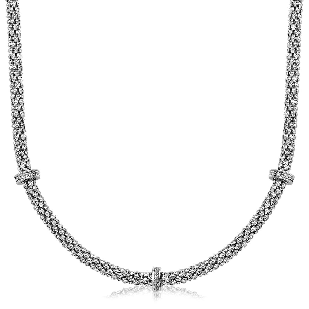 18K Yellow Gold and Sterling Silver Necklace with Diamonds (.17 ct. tw.)