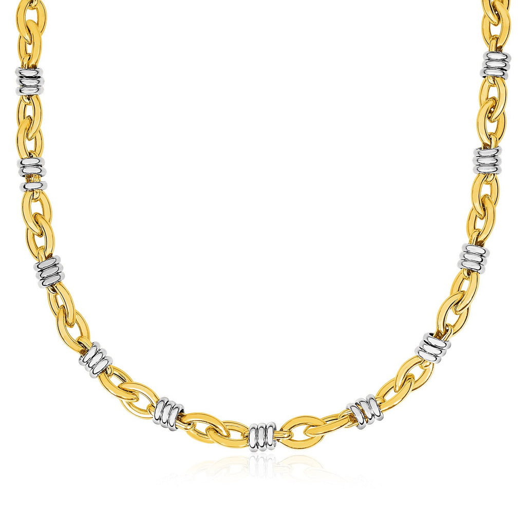 14K Gold 18 inch Two-Tone Yellow and White Gold Ringed Marquise Motif Necklace